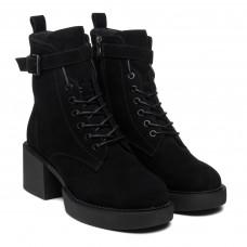 Ботинки зимние на удобном массивном каблуке черные замшевые