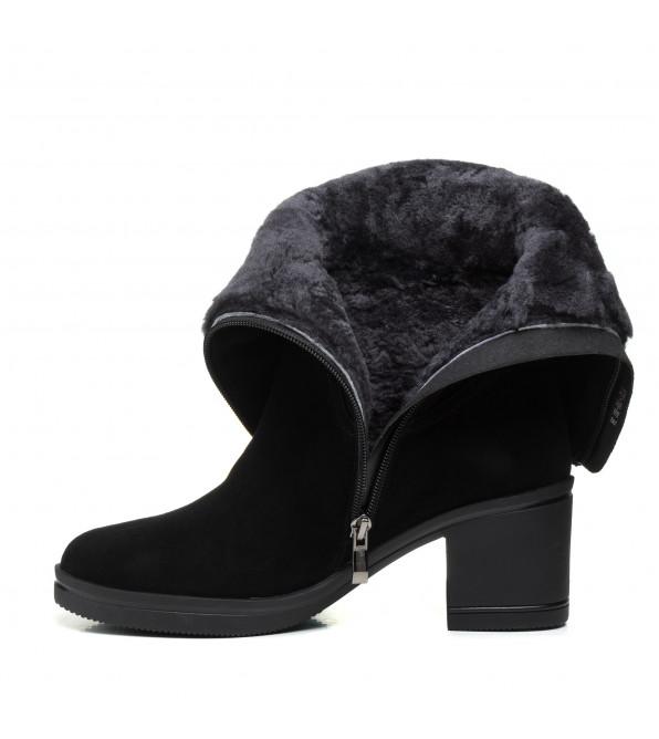 Чоботи Lady marcia класичні зимові  на зручному стійкому каблуку замшеві