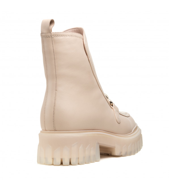 Стильні черевики на тракторній підошві бежеві шкіряні Brocoli