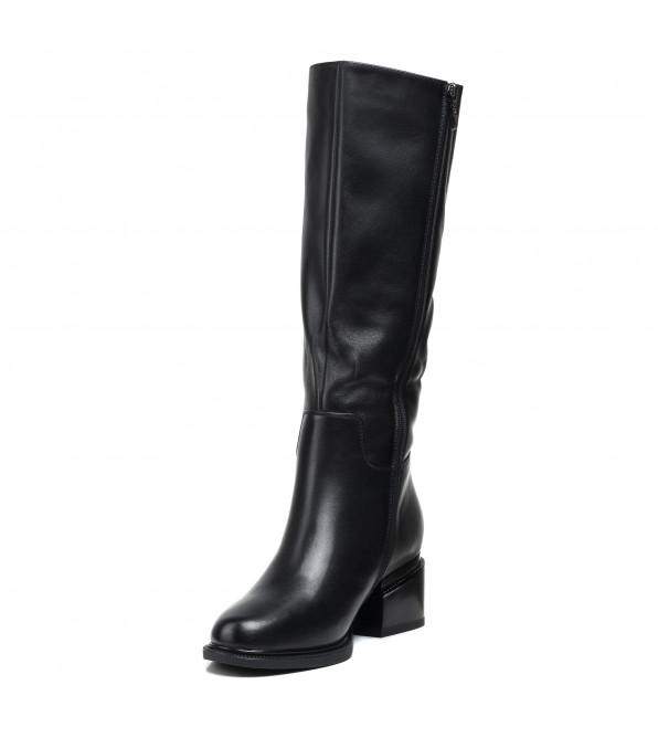 Чоботи жіночі шкіряні на каблуку чорні класичні Geronea