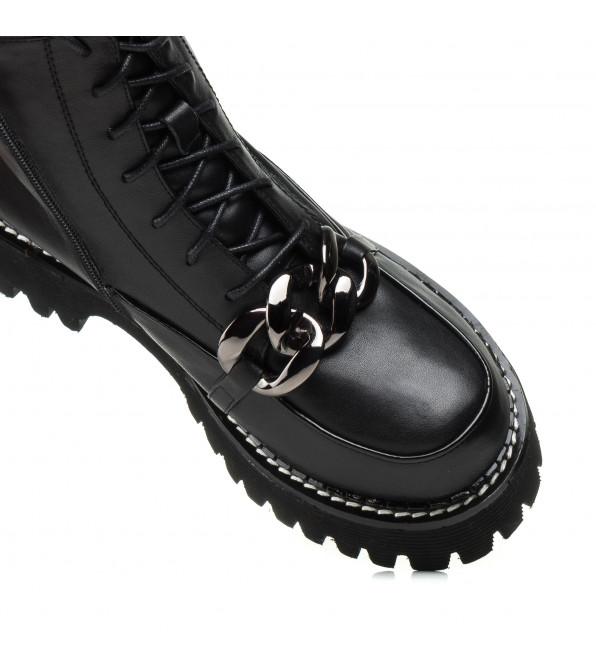 Черевики Geronea чорні з пряжкою на шнурівках тракторна підошва