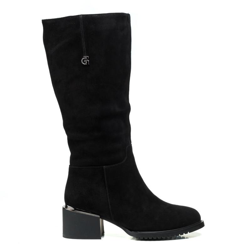 Чоботи замшеві Geronea чорні на зручному каблуку