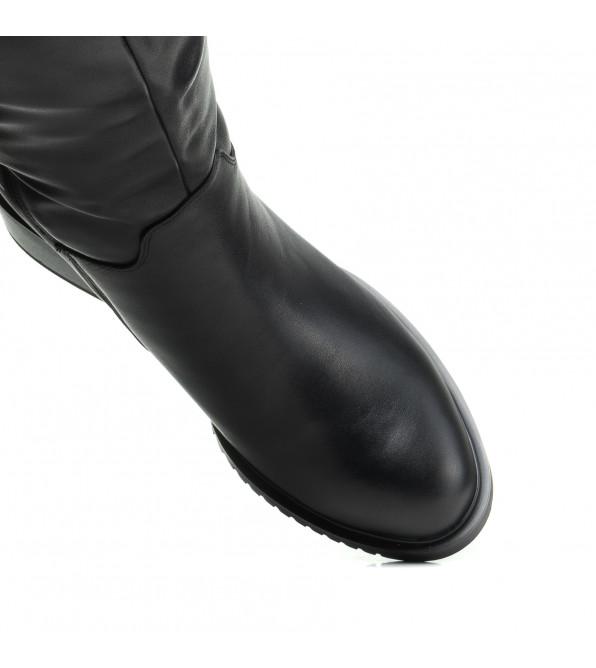Чоботи шкіряні Geronea чорні на зручному каблуку
