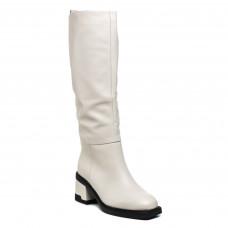 Чоботи Geronea бежеві класичні зимові на середньому каблуку