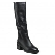 Чоботи Geronea чорні класичні зимові на середньому каблуку