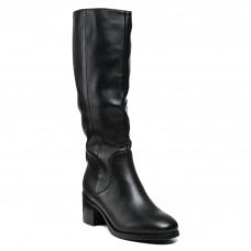 Чоботи Geronea зимові чорні класичні шкіряні на зручному каблуку
