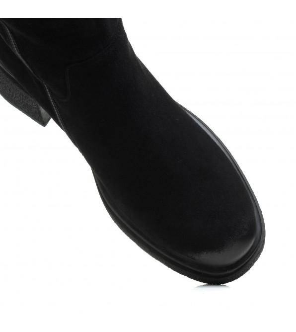 Чоботи My classic замшеві чорні на зручному каблуку
