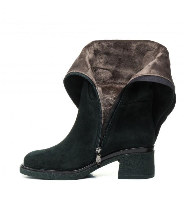 Чоботи жіночі замшеві зелені на зручному каблуку My classic