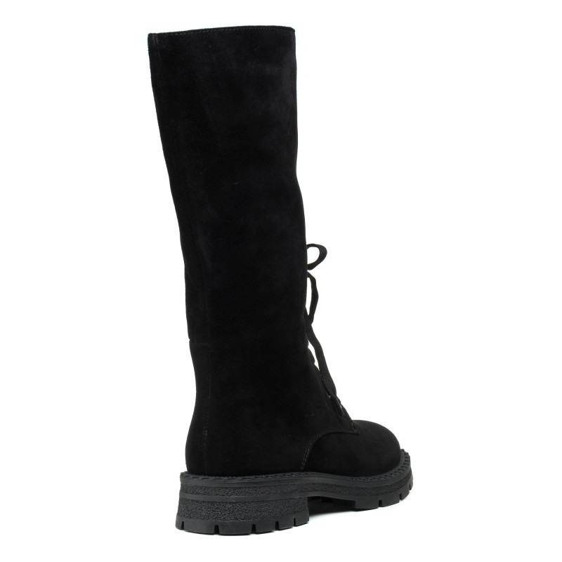 Чоботи замшеві на зручному каблуку спереду шнурівки чорні My classic