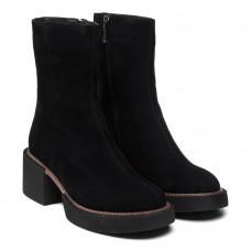 Ботинки женские замшевые зимние черные на удобном каблуке My classic