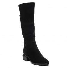 Чоботи замшеві Vidorcci на каблуку класичні чорні