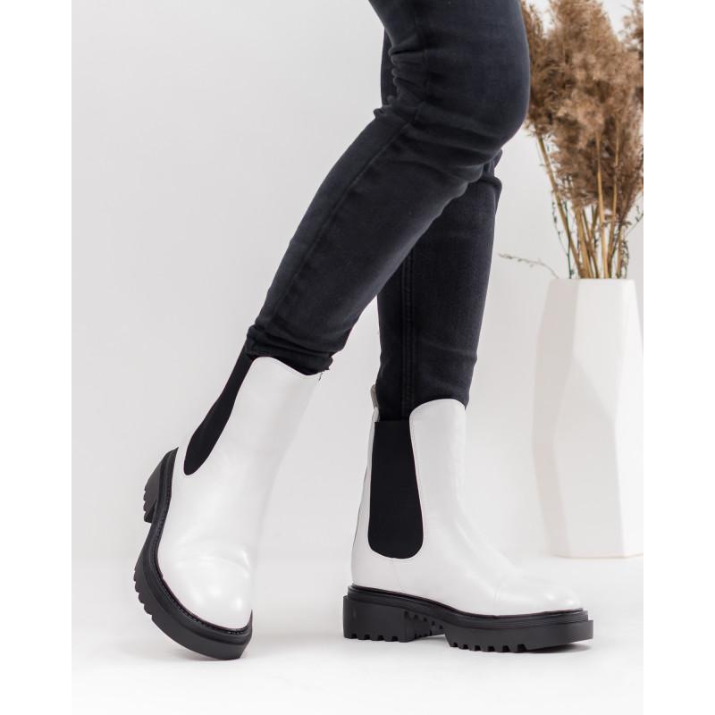 Черевики - челсі жіночі білі зимові Molka