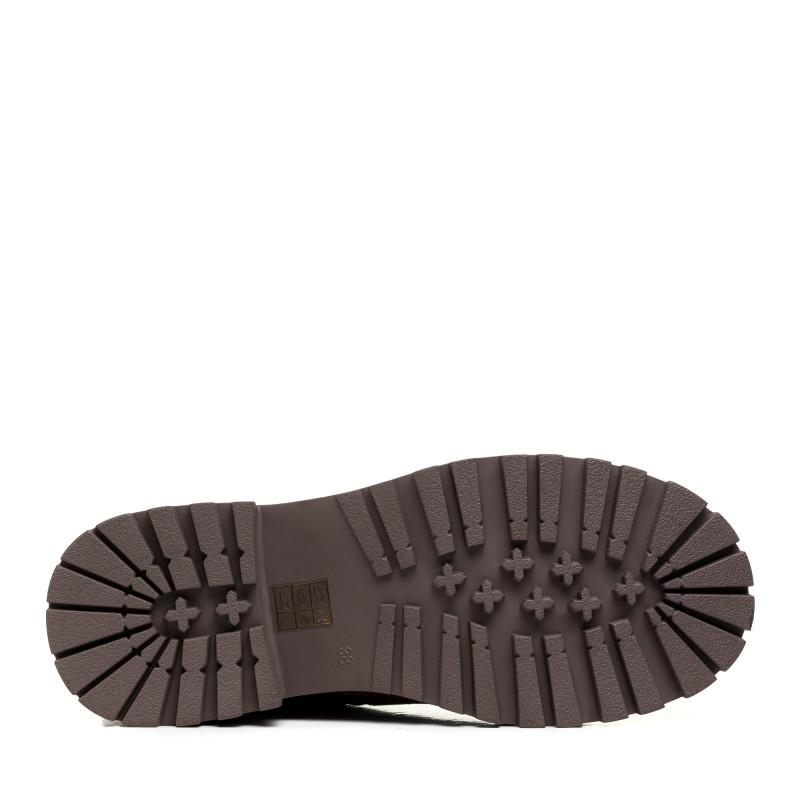 Зимові черевики Polann бежеві на шнурівках замшеві