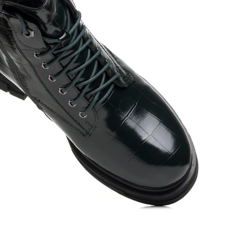 Черевики лаковані Bellavista темно зелені на зручному каблуку
