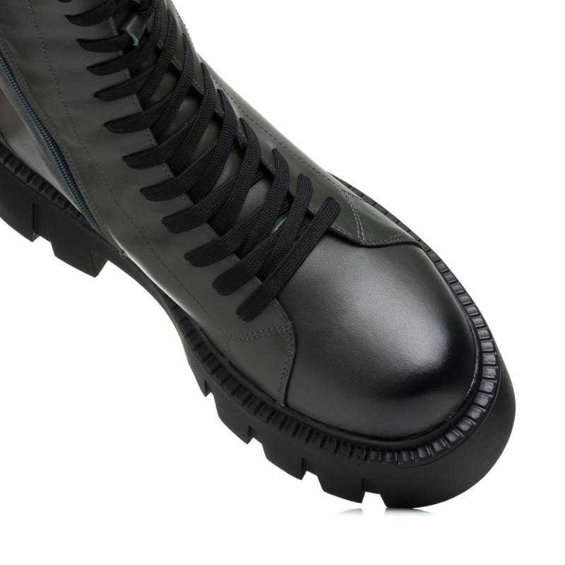Черевики зимові шкіряні на шнурівках Melanda хакі