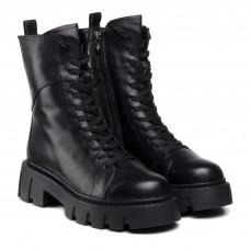 Ботинки зимние кожаные на шнуровке Melanda черные