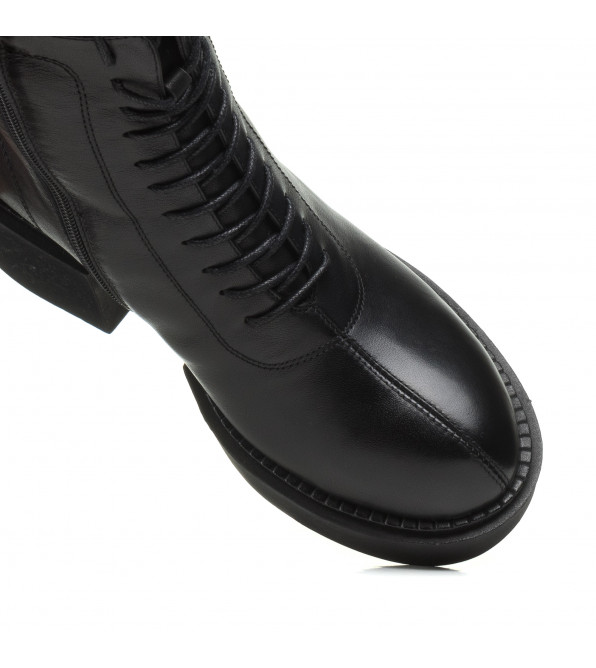 Черевики Melanda зимові шкіярні на масивному каблуку на шнурівкам