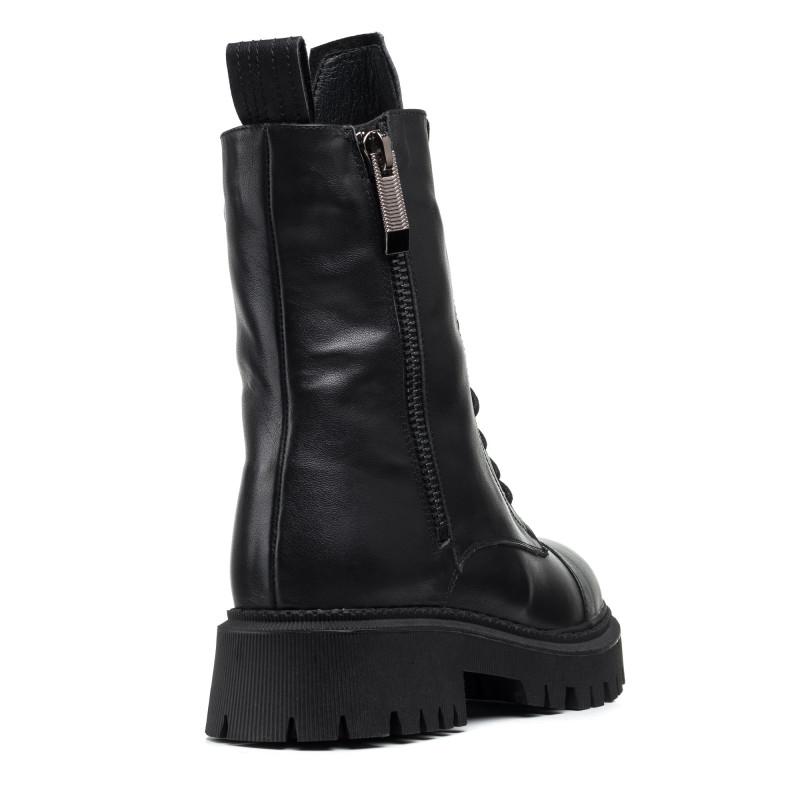 Черевики зимові шкіряні жіночі чорні на шнурівках Melanda