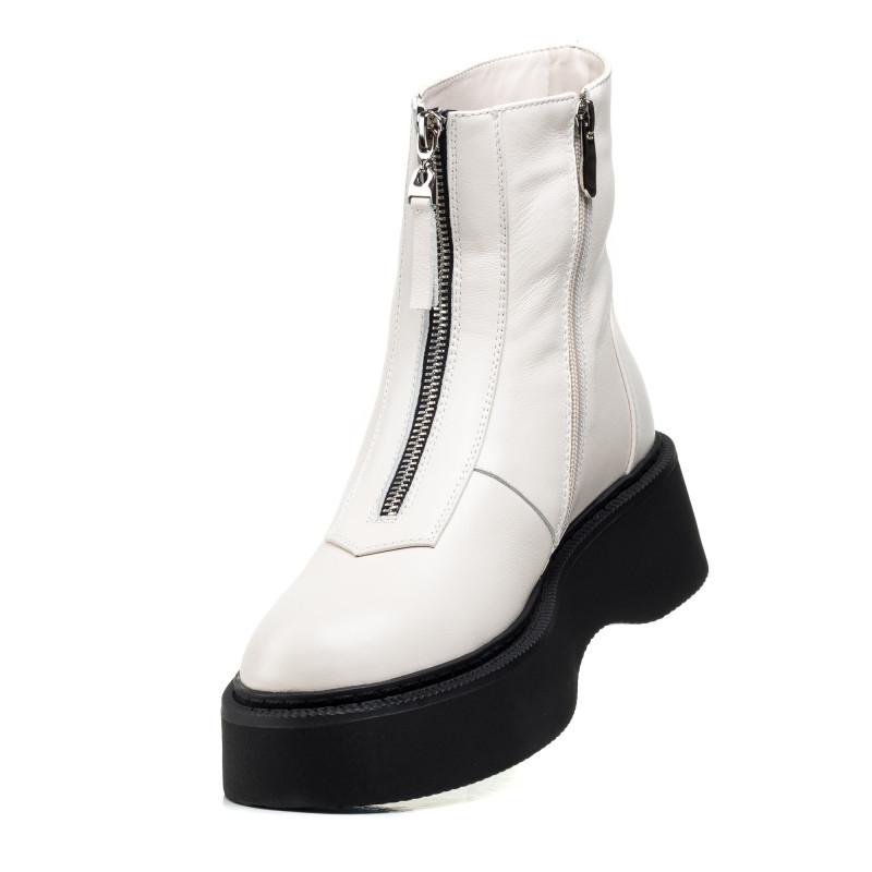 Зимові черевики Farinni білі на платформі шкіряні