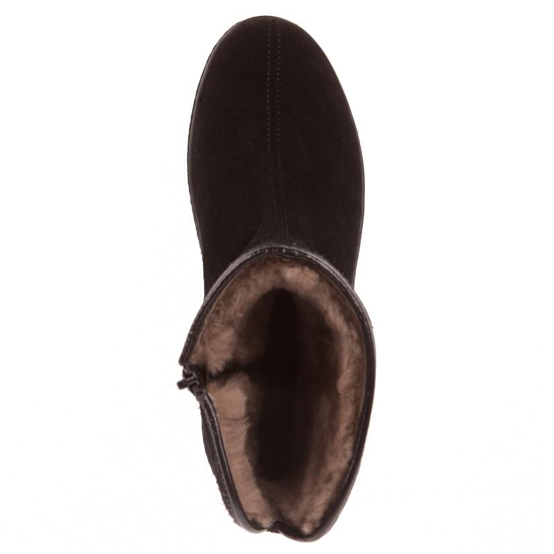 Теплі замшеві черевики Rieker на зручній платформі чорні
