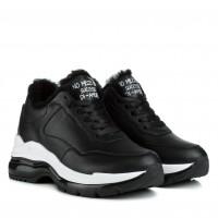Кроссовки женские кожаные стильные теплые Ditas на платформе на шнуровке черные с белым
