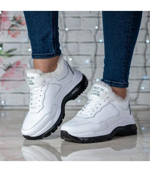 Кросівки жіночі шкіряні білі на платформі Ditas