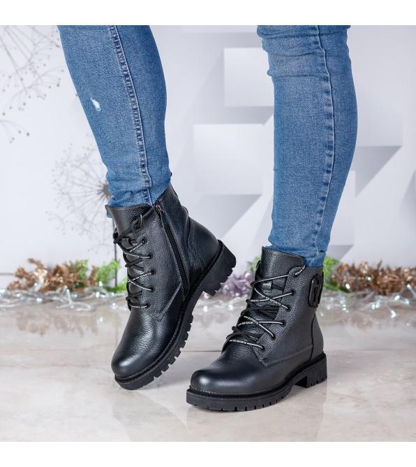 Черевики жіночі шкіряні чорні на шнурівках Teona