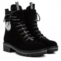 Ботинки женские замшевые черные на низком ходу Teona
