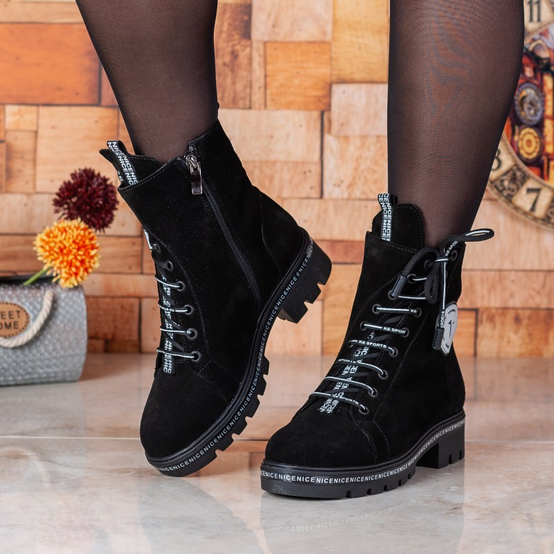 Черевики жіночі замшеві чорні на низькому ходу Teona