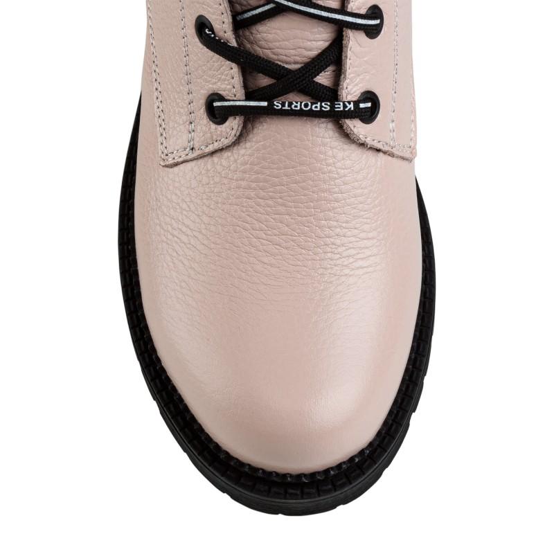 Черевики жіночі шкіряні рожеві на шнурівці Teona