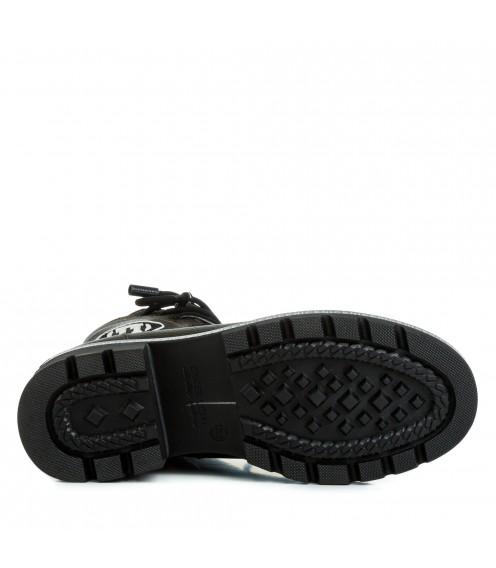 Черевики жіночі шкіряні на шнурівці на низькому каблуці Teona