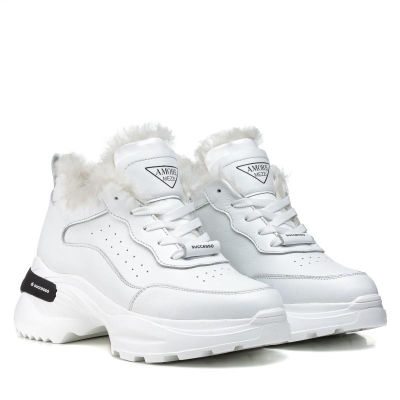 Кросівки жіночі шкіряні зимові білі Ditas