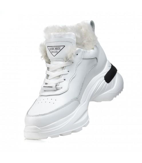 Кроссовки женские кожаные зимние белые Ditas