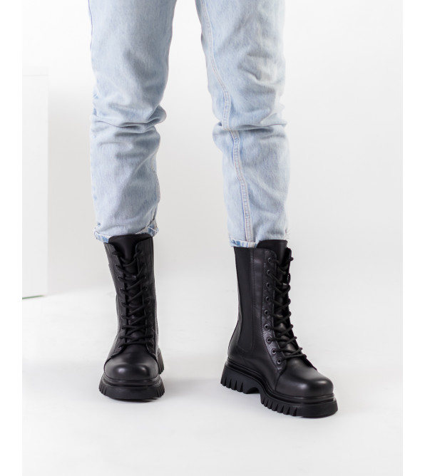 Черевики жіночі шкіряні чорні на шнурівці Guero