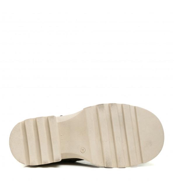 Черевики жіночі шкіряні замшеві сіро-бежеві зимові на шнурівці Phany