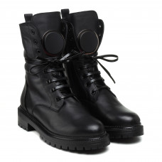 Ботинки женские зимние Aquamarin черные кожаные на шнуривказ тракторная подошва