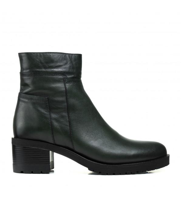 Черевики altura жіночі на стійкому каблуку темно зелені шкіряні