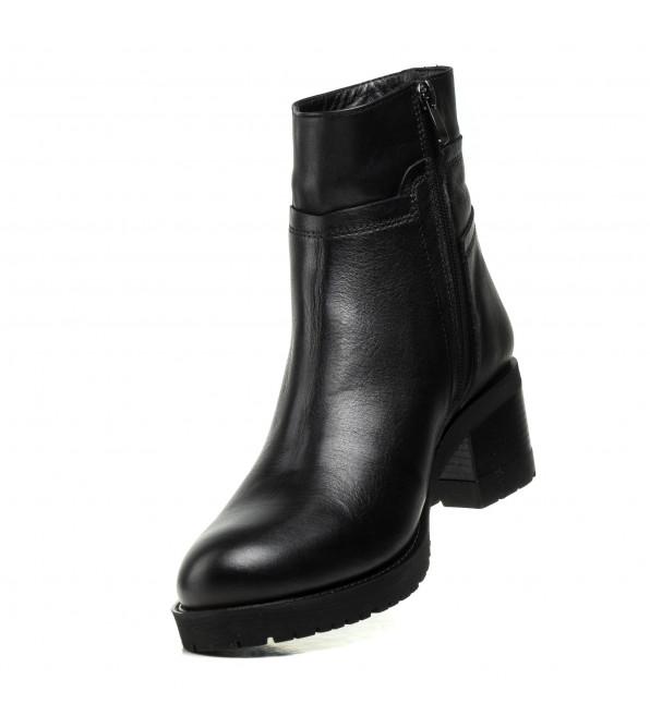 Черевики altura жіночі на стійкому каблуку чорні шкіряні