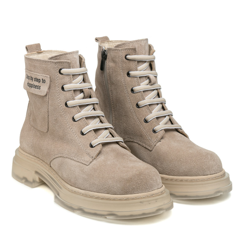 Ботинки женские замшевые зимние бежевые на шнуровке Guero