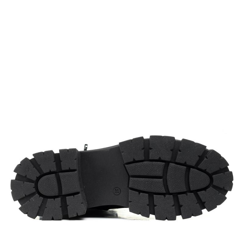 Черевики шкіряні чорні на шнурівках на тракторнійц підошві Guero