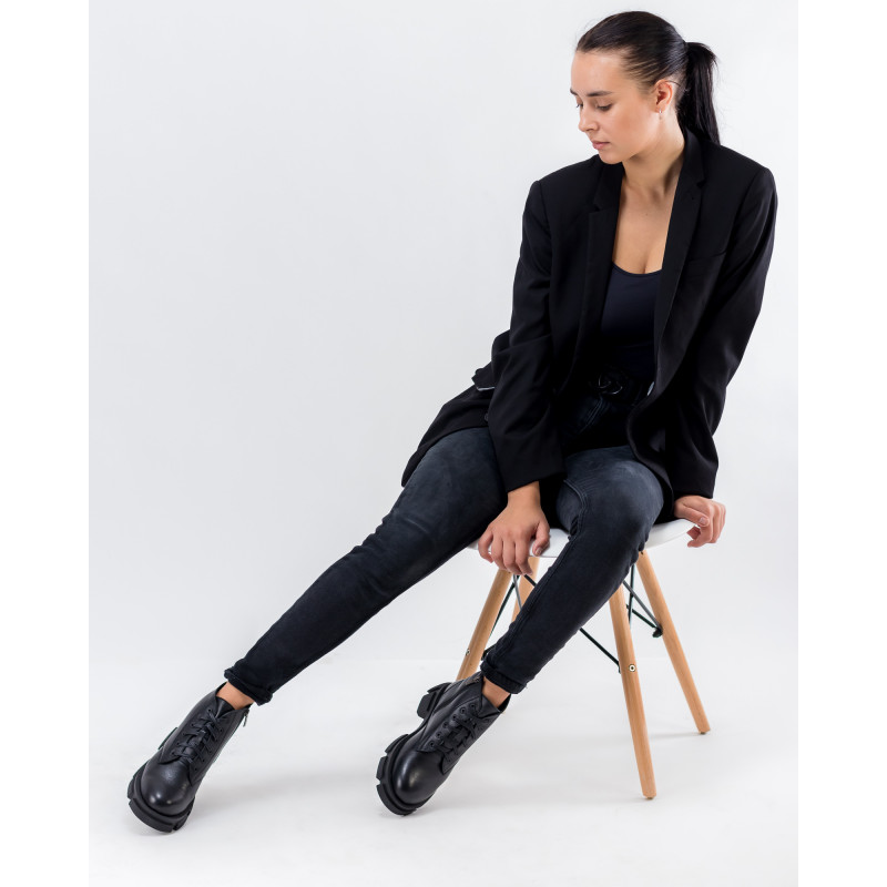 Черевики жіночі шкіряні зимові чорні на шнурівці Twenty two
