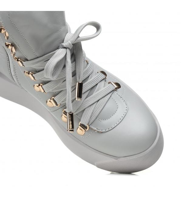 Черевики жіночі Teona сірі на шнурівках на платформі