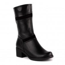 Полусапоги женские кожаные черные на среднем каблуке Jota