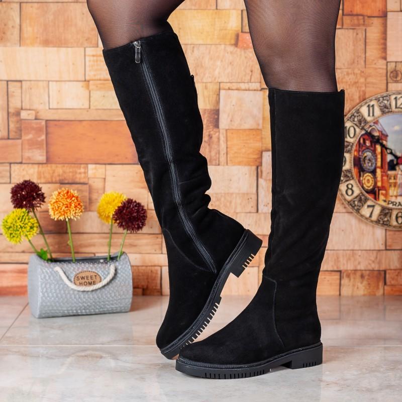 Чоботи жіночі замшеві на низькому каблуку Monroe