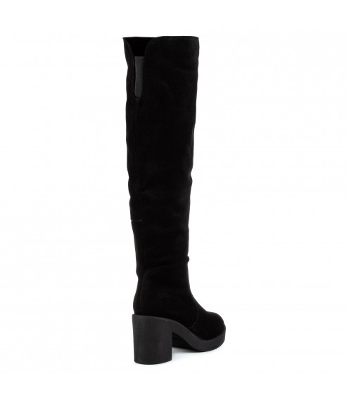 Ботфорти жіночі замшеві високі на каблуку