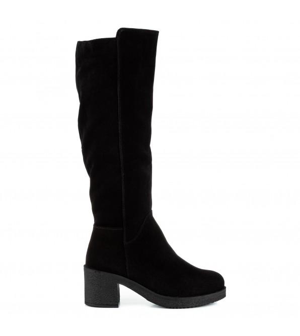 Чоботи жіночі замшеві чорні на широкому каблуку