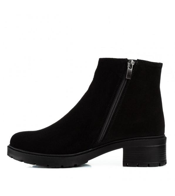 Черевики жіночі замшеві чорні на каблуку Monroe