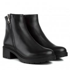 Ботинки женские кожаные черные на каблуке Monro