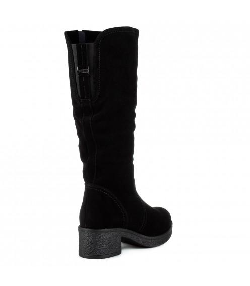 Чоботи жіночі замшеві чорні на каблуку Monroe