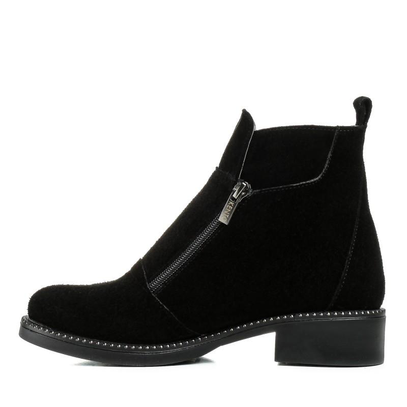 Черевики жіночі замшеві чорні на каблуку Kento
